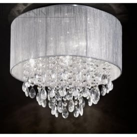 FL2281/4 Royale 4 Light Crystal Ceiling Light Translucent Silver