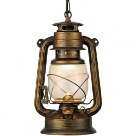 3841-1BG Miners 1 Light Lantern Pendant Black Gold