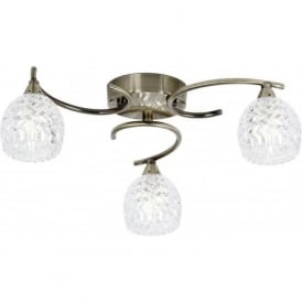 Endon BOYER-3AB Boyer 3 Light Ceiling Light Antique Brass