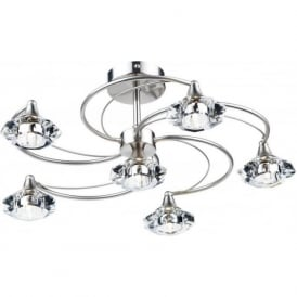 LUT0646 Luther 6 Light Crystal Ceiling Light Satin Chrome