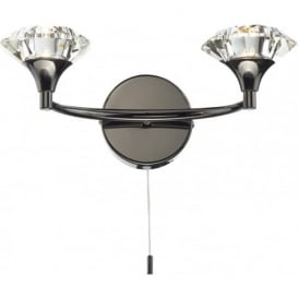 LUT0967 Luther 2 Light Crystal Wall Light Black Chrome Switched