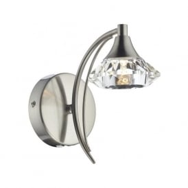 LUT0746 Luther 1 Light Crystal Wall Light Satin Chrome Switched