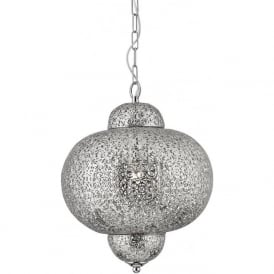 9221-1SS Moroccan 1 Light Ceiling Pendant Shiny Nickel