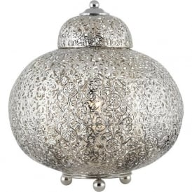 8221-1SS Moroccan 1 Light Table Lamp Shiny Nickel