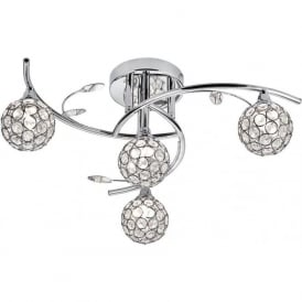 7024-4CC Dimple 4 Light Semi-flush Ceiling Light Polished Chrome