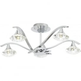 LANGELLA-5CH 5 Light Ceiling Light Polished Chrome