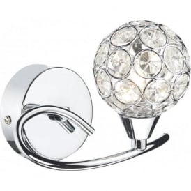 NUC0750 Nucleus 1 Light Wall Light Polished Chrome Switched