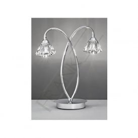 TL974 Twista 2 Light Crystal Table Lamp Polished Chrome