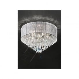 FL2281/7 Royale 7 Light Crystal Ceiling Light Translucent Silver