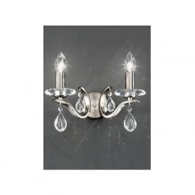 FL2298/2 Willow 2 Light Crystal Wall Light Satin Nickel