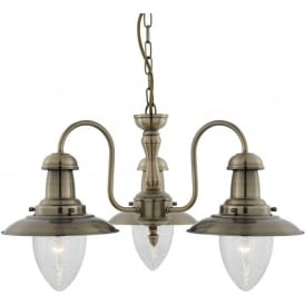 5333-3AB Fisherman 3 Light Ceiling Light Antique Brass