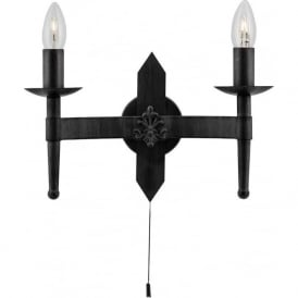 2422-2BK Cartwheel 2 Light Switched Wall Light Black