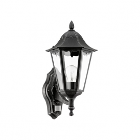 93458 Navedo 1 Light Outdoor Sensor Wall Light Black/Silver IP44
