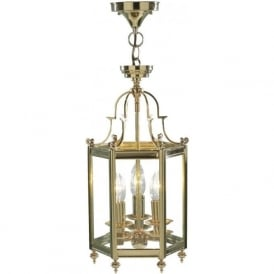 MOO0340 Moorgate 3 Light Ceiling Lantern Polished Brass