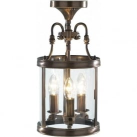 LAM0375 Lambeth 3 Light Ceiling Lantern Antique Brass