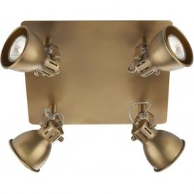 IDA8575 Idaho 4 Light Ceiling Spotlight Natural Brass