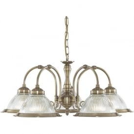 9345-5 American Diner 5 Light Ceiling Light Antique Brass