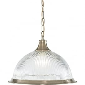 9369 American Diner 1 Light Ceiling Pendant Antique Brass