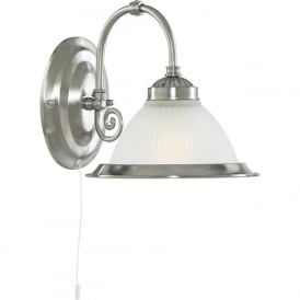 1041-1 American Diner 1 Light Wall Light Satin Silver