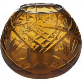 003S04002 Cuba Crystal Candle Holder Amber Pack 4