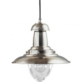 4301SS Fisherman 1 Light Ceiling Pendant Satin Silver