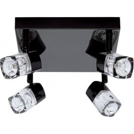 7884BC Blocs 4 Light Ceiling Spotlight Black Chrome