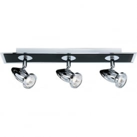 7493 Comet 3 Light Ceiling Spotlight Polished Chrome Black