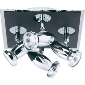 7494 Comet 4 Light Ceiling Spotlight Polished Chrome Black