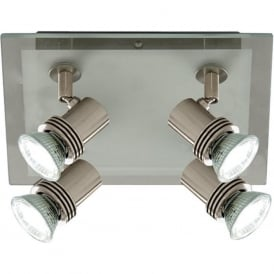 7844-4 Top Hat 4 Light Ceiling Spotlight Satin Silver