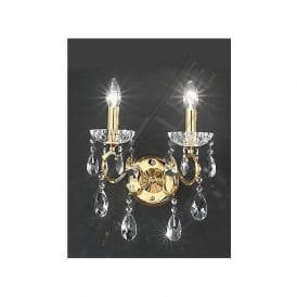 FL2159/2 Chiffon 2 Light Crystal Wall Light Gold