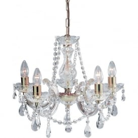 699-5 Marie Therese 5 Light Chandelier Polished Brass