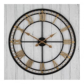 75-032 Gold Metal Wall Clock Antique Bronze