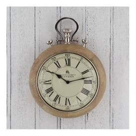 75-016 Stop-Watch Designed Nickel Wood Wall Clock