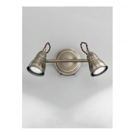 SPOT8952 Rustica 2 Light LED Switched Wall Spotlight Bronze