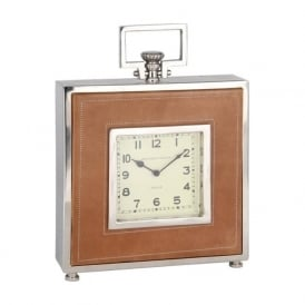 75-006 Mantle or Wall Clock Nickel and Leather