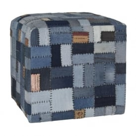90-011-BL Blue Recycled Denim And Leather Labels Pouffe