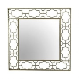 Pacific Lighting 73-010 Openwork Design Square Mirror Antique Gold