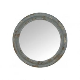 Pacific Lighting 73-018 Antique Blue Metal and MDF Round Wall Mirror