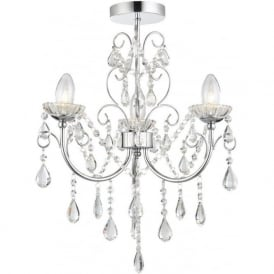 61251 Tabitha 3 Ligh Semi Flush Ceiling Light IP44 Polished Chrome