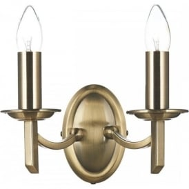 AMB0975 Ambassador 2 Light Switched Wall Light Antique Brass