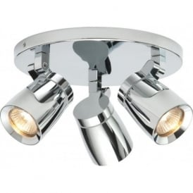 39167 Knight 3 Light Spotlight IP44 Polished Chrome