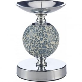 003S108010 Single Ball Candlestick Polished Chrome and Blue Mosaic