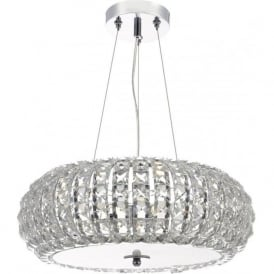PIA0350 Piazza 3 Light Crystal Ceiling Pendant Polished Chrome