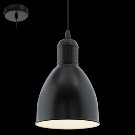 49464 Priddy 1 Light Ceiling Pendant Black