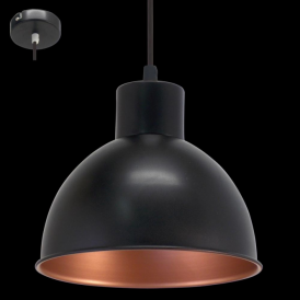 49238 Truro1 1 Light Ceiling Pendant Black/Copper