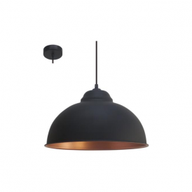 49247 Truro2 1 Light Ceiling Pendant Black/Copper