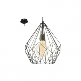 49257 Carlton 1 Light Ceiling Pendant Black