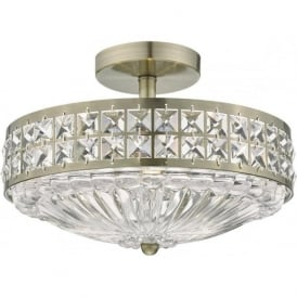 Dar OLO5375 Olona 3 Light Semi Flush Ceiling Light Antique Brass