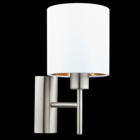95053 Pasteri 1 Light Switched Wall Light Grey/White