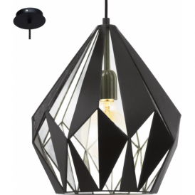 49255 Carlton1 1 Light Ceiling Pendant Black Silver